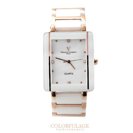 Valentino范倫鐵諾 珍珠貝面錶盤設計精密白陶瓷玫瑰金手錶腕錶 柒彩年代【NE1049】原廠公司貨 0