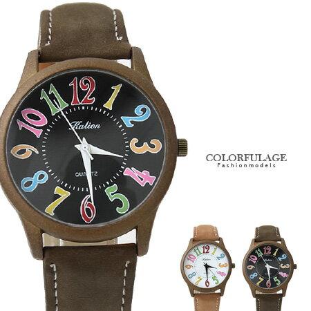 繽紛彩色刻度手錶 獨家錶款不撞款 復刻版麂皮錶帶腕錶  柒彩年代【NE1302】單支 0