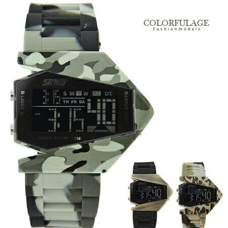 創意搶眼美學 獨特飛機造型防水電子錶 迷彩系列矽膠錶帶 柒彩年代【NE1268】.單支 0
