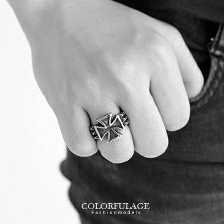 戒指 經典十字架立體圖騰造型鋼戒 寬版蛇紋戒百搭耐看 型男專屬單品 柒彩年代【NC166】指環