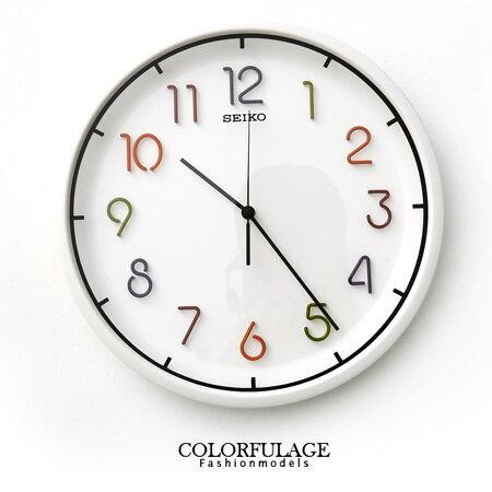 SEIKO精工彩色數字白色掛鐘 恆動式秒針時鐘 立體設計豐富時間 柒彩年代【NE1083】原廠公司貨 0