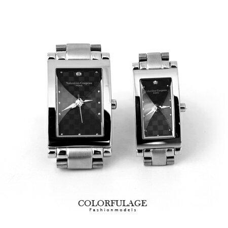 Valentino范倫鐵諾 切割美學黑色經典格紋不鏽鋼手錶腕錶對錶 柒彩年代【NE1292】單支價格 0