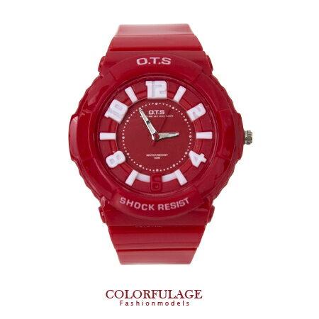 柒彩年代˙立體刻度運動浮雕防水30米手錶 韓系女孩帥氣矽膠腕錶【NE679】單支 0