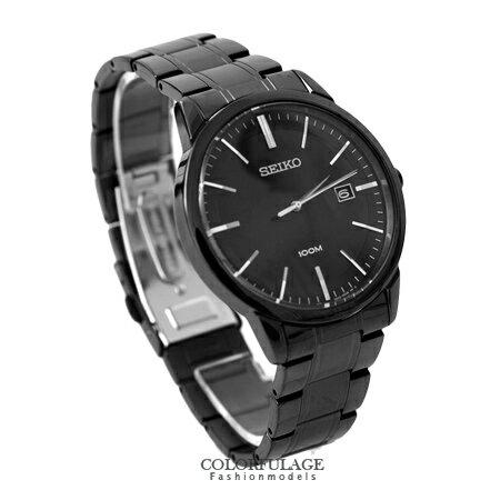 SEIKO精工腕錶 經典簡約線條刻度全黑不鏽鋼帶手錶對錶 防水100米 柒彩年代【NE1353】附贈禮盒+提袋 0