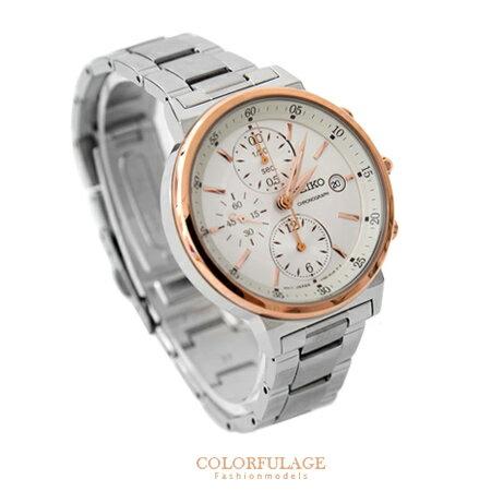 SEIKO精工腕錶 女孩專屬白玫瑰金三眼計時不鏽鋼帶腕錶 防水50米 柒彩年代【NE1348】附贈禮盒+提袋 0