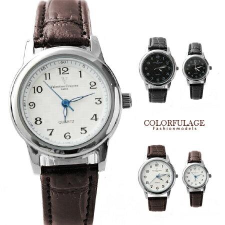 Valentino范倫鐵諾 經典格紋數字真皮手錶腕錶 情人對錶 柒彩年代【NE1088】原廠公司貨 單支 0