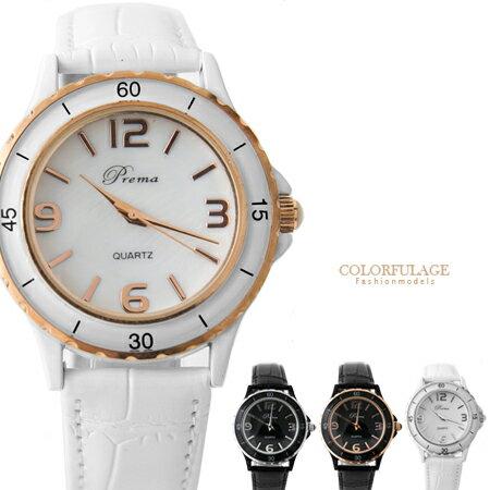 柒彩年代˙真愛趁現在 偶像劇珍珠貝盤手錶 時尚黑白色鱷魚皮革腕錶【NE355】單支 0