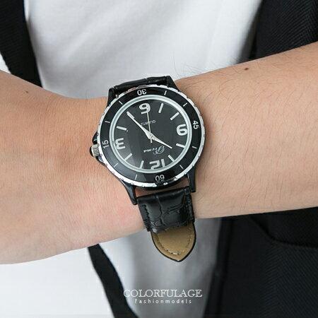 時尚黑白色鱷魚皮革腕錶