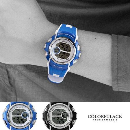 JAGA捷卡多功能電子手錶 防水50米 型男必搭運動腕錶 原廠公司貨 柒彩年代【NE1304】單支 0