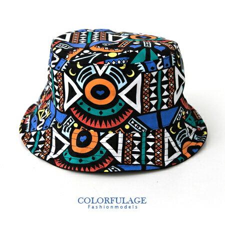 創意塗鴉風潮流漁夫帽 遮陽帽 紳士帽 軟鐵絲滾邊可折 貼心雙面設計 柒彩年代【NH167】透氣棉料 0