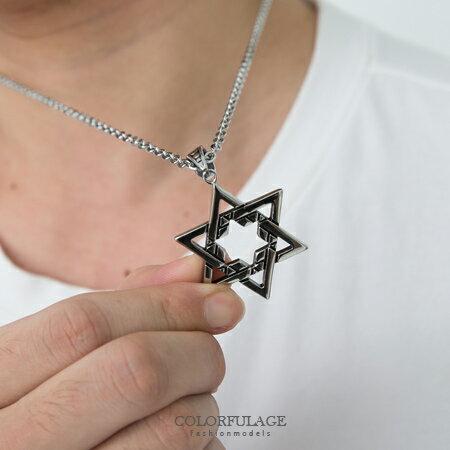 鏤空星星墜飾不鏽鋼項鍊 六芒星造型項鍊 復古潮流時尚鋼飾 質感飾品柒彩年代【NB609】贈鋼鍊 0