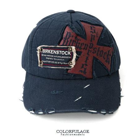 棒球帽 藍色十字架圖騰 刷破風格造型l遮陽棒球帽 美式style搭配單品 柒彩年代【NH164】紙箱出貨 0