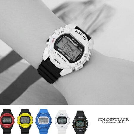 手錶 色彩豐富薄型多功能撞色電子錶腕錶 JAGA捷卡原廠公司貨 柒彩年代【NE1314】多色可選 0