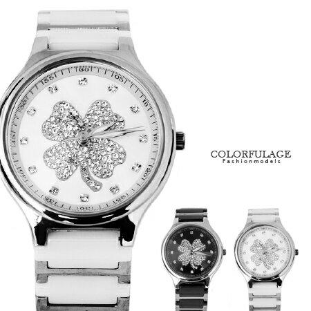 Valentino范倫鐵諾 幸運草水鑽精密陶瓷不鏽鋼手錶腕錶 原廠公司貨 柒彩年代【NE1315】單支 0