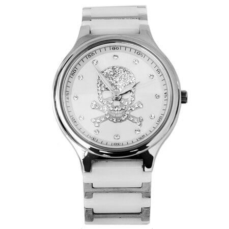 Valentino范倫鐵諾 經典骷髏水鑽精密陶瓷不鏽鋼手錶腕錶 原廠公司貨 柒彩年代【NE1316】單支 0