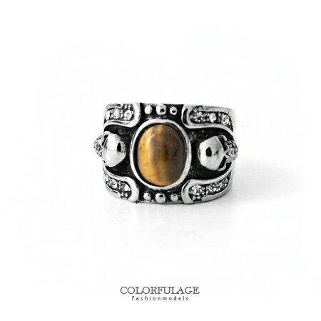 戒指 立體橢圓琥珀石龐克骷髏造型寬版西德鋼戒 精緻鑲鑽厚實質感 柒彩年代【NC168】型男指環