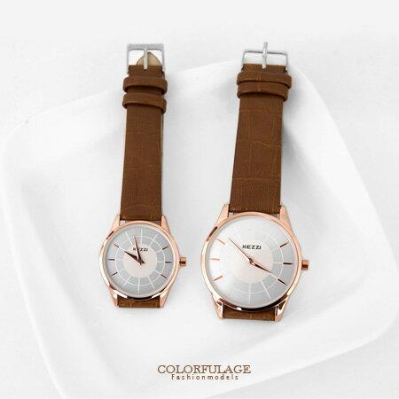 手錶時尚玫瑰金搭隱藏刻度 簡約俐落中性風格 質感皮革錶帶 柒彩年代【NE1312】 0