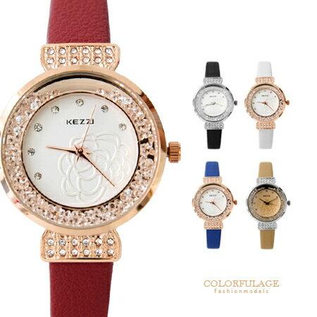 手錶 山茶花手錶 奢華奧地利水鑽 氣質名媛皮革錶款 女孩必搭 柒彩年代~NE1322~單支