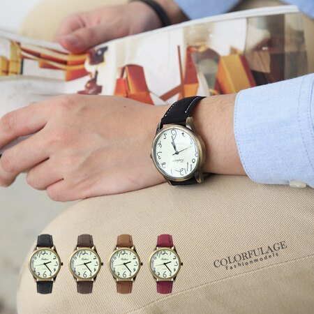 草寫數字塗鴉復刻潮流玩味手錶 大小款式多色可選 中性皮革腕錶 柒彩年代【NE1366】單支 0