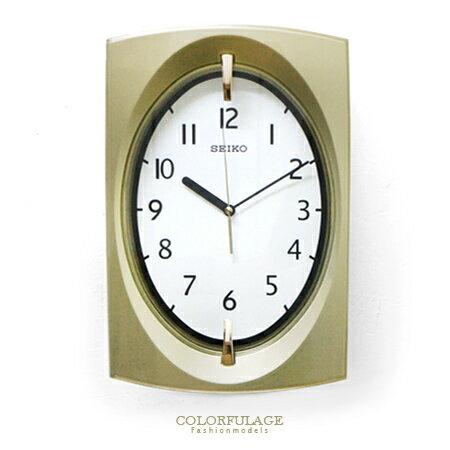 SEIKO精工時鐘 古典優雅 香檳金色 拱弧造型掛鐘 時尚有型 柒彩年代【NE1377】原廠公司貨 0