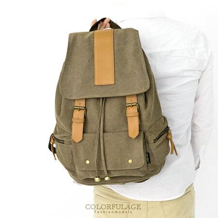 大容量實用復古帆布後背包 街頭潮流 抽繩束口雙肩後背包 柒彩年代【NZ414】單個 0