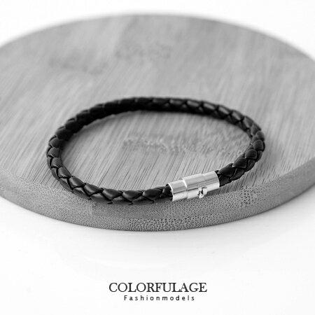 編織細版皮革手環 磁吸式黑皮繩 個性設計 經典時尚 柒彩年代【NA305】中性款 男女皆宜