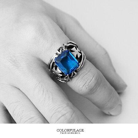 寶藍色澤戒指 石雕紋十字架鏤空戒 白鋼抗過敏抗氧化 柒彩年代【NC172】極亮眼效果 0