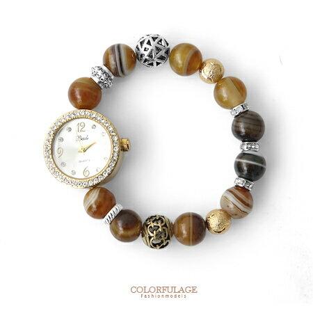 手錶 質感串珠造型彈性手環手錶 繽紛色彩時尚異國風格 柒彩年代【NE1364】單條 0