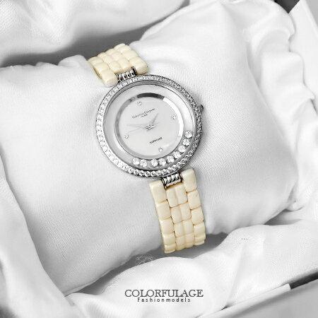 Valentino范倫鐵諾 珍珠貝滾動鋯石奢華精密陶瓷手錶腕錶  柒彩年代【NE1367】 0