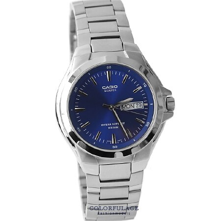 CASIO卡西歐 簡約耀眼藍不鏽鋼腕錶 十年電力設計手錶 柒彩年代【NE1361】原廠公司貨 0