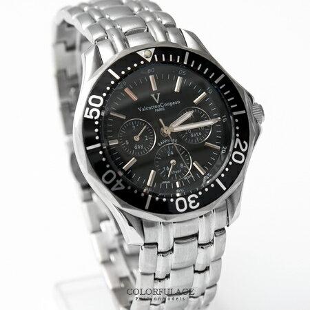 范倫鐵諾Valentino 可旋轉外框真三眼設計不鏽鋼手錶 藍寶石水晶 原廠公司貨 柒彩年代【NE1384】單支 0
