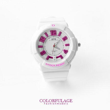 立體刻度運動浮雕防水30米手錶 兒童錶 韓系女孩帥氣矽膠腕錶 柒彩年代【NE679】單支 0
