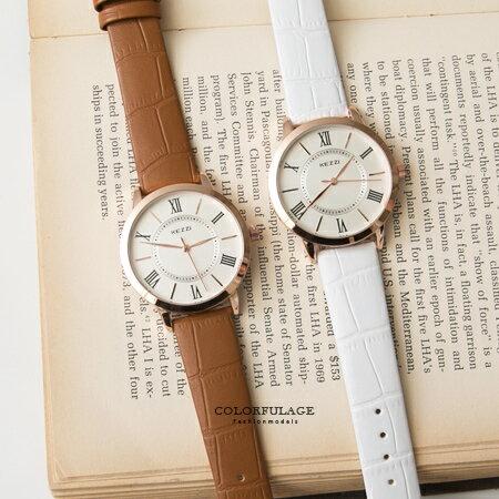 手錶 玫金圓框羅馬數字簡約小刻度造型腕錶 復古風格錶款 色彩亮眼 柒彩年代【NE1392】單支 0