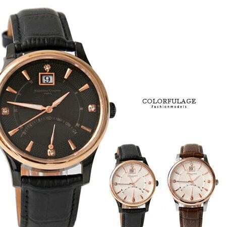 Valentino范倫鐵諾 經典24小時飛返指針功能玫瑰金皮革手錶腕錶 藍寶石水晶 柒彩年代【NE1393】單支 0