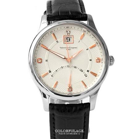 Valentino范倫鐵諾 經典24小時飛返指針功能皮革手錶腕錶 藍寶石水晶 柒彩年代【NE1394】單支 0
