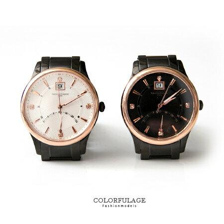 Valentino范倫鐵諾 全黑不鏽鋼手錶腕錶 24小時飛返指針功能玫瑰金色調 柒彩年代【NE1395】單支 0