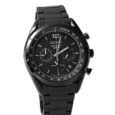SEIKO精工錶 消光黑三眼錶盤時尚計時腕錶 黑鷹中隊 防水100米 柒彩年代【NE1408】生日禮物 0