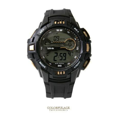 JAGA捷卡blink 原子小黑金運動型多功能電子手錶 防水100米 經典型男錶 柒彩年代【NE1409】單支 0