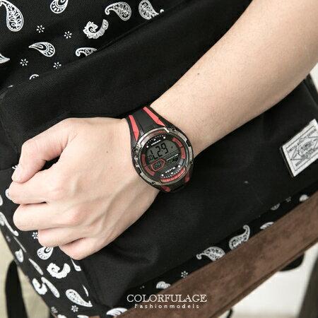JAGA捷卡 帥氣有型多 黑紅流線電子手錶 超亮冷光燈防水100米 柒彩年代~NE1416