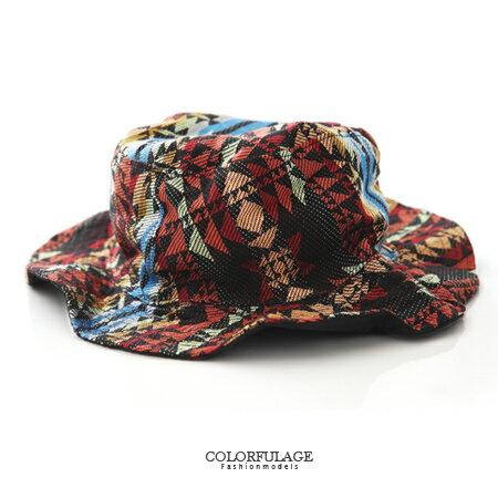 漁夫帽熱帶民族風棉質布料 遮陽帽 紳士帽 民族風圖騰 貼心雙面設計 柒彩年代【NH181】透氣舒適 0