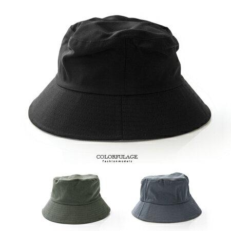 全素面棉質布料漁夫帽 遮陽帽 紳士帽 潮人穿搭入手款 貼心雙面設計 柒彩年代【NH183】透氣舒適 0