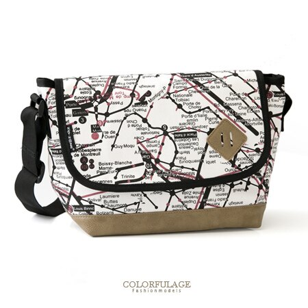 側背包 旅行的意義時尚潮流地圖休閒帆布包 豬鼻造型實用百搭不分男女 柒彩年代【NZ428】單個 0