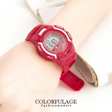鮮艷色彩多功能電子錶手錶 女孩休閒運動 有冷光.鬧鐘 禮物首選 柒彩年代【NE945】單支 0