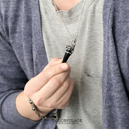 項鍊 立體松鼠造型鑲鑽華麗黑瑪瑙項鍊 流行時尚月牙白鋼鏤空項鍊 柒彩年代【NB641】贈送鋼鍊