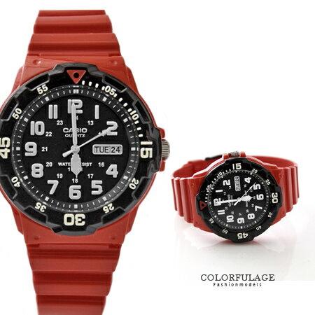 CASIO卡西歐 搶眼黑紅配色質感軍裝手錶 休閒運動腕錶 防水100米 柒彩年代【NE1425】原廠公司貨 0