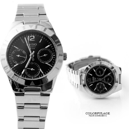 CASIO卡西歐 典雅黑銀真三眼經典設計手錶 時尚氣質腕錶 有保固 柒彩年代【NE1428】原廠公司貨 0