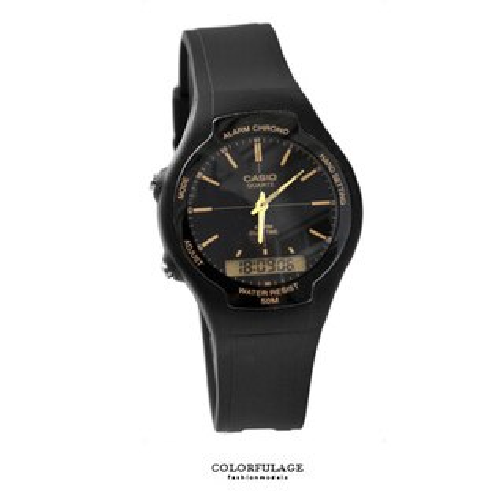 CASIO日本卡西歐手錶 時尚金色指針刻度雙顯示膠錶 防水50米 柒彩年代【NE1434】原廠公司貨