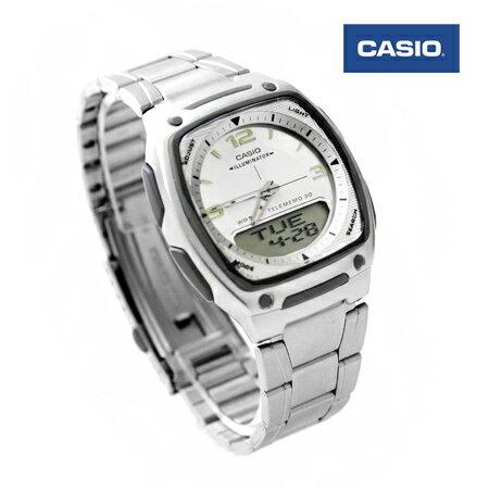 CASIO日本卡西歐手錶 方型白面指針數位雙顯示多功能腕錶 防水50米 柒彩年代【NE1439】原廠公司貨 0