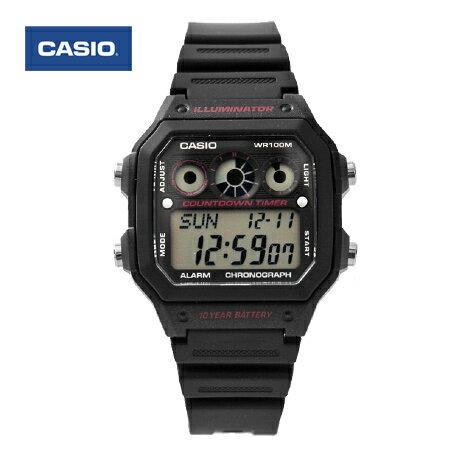 CASIO卡西歐 環保風格 十年電力全黑紅電子錶盤手錶 100M防水 柒彩年代【NE1440】原廠公司貨 0