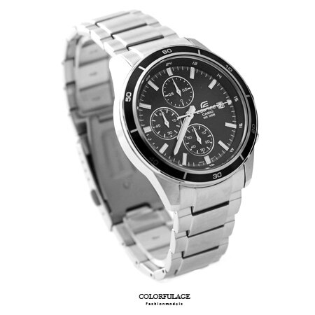 CASIO卡西歐EDIFICE系列 三眼黑面賽車腕錶不鏽鋼腕錶 防水100米手錶 柒彩年代【NE1454】原廠公司貨 0